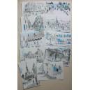 Cartes Postales AVRIL Carnet de dessins Ville de Nérac Rencontres 2011